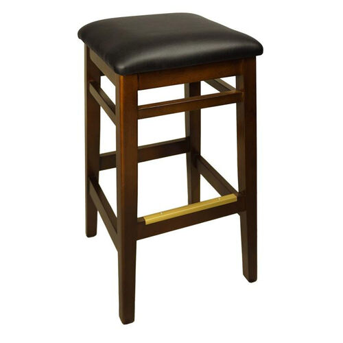 Our Trevor Walnut Wood Backless Barstool - Black Vinyl Seat is on sale now.