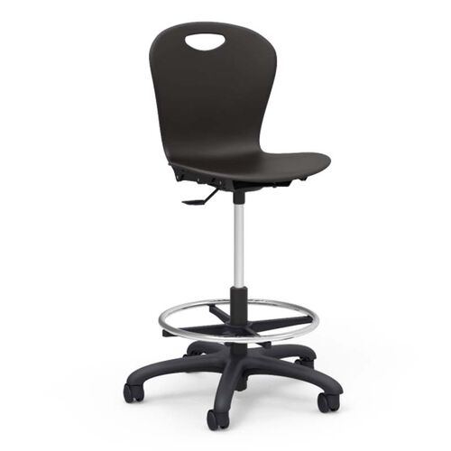 Our Quick Ship ZUMA Series Black Plastic Seat Drafting Stool with Black Base - 24.13