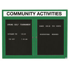 2 Door Outdoor Illuminated Enclosed Directory Board with Header and Green Anodized Aluminum Frame - 36