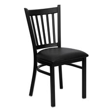Black Vertical Back Metal Restaurant Chair with Black Vinyl Seat