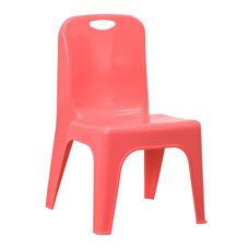 Red Plastic Stackable School Chair with Carrying Handle and 11