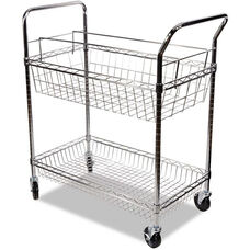 Alera® Carry-all Mail Cart with Dual Wire Shelves and 2 Locking Casters - Silver