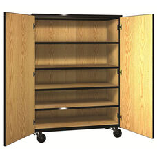 Denali 1000 Series Mobile General Storage Cabinet with Doors, 3 Adjustable Shelve, and 1 Fixed Shelf