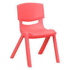Red Plastic Stackable School Chair with 12