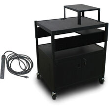 Spartan Series Adjustable Media Projector Cart and Cabinet with One Pull-Out Side-Shelf Expansion Shelf and Electrical - Black