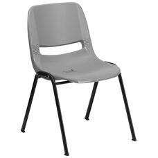 HERCULES Series 880 lb. Capacity Gray Ergonomic Shell Stack Chair with Black Frame