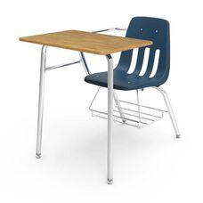 Quick Ship 9000 Series Classic Student Combo Desk with Medium Oak Laminate Top, Chrome Frame, and Navy Chair - 24''W x 36.5''D x 30''H