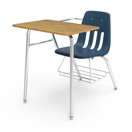 Quick Ship 9000 Series Classic Student Combo Desk with Medium Oak Laminate Top, Chrome Frame, and Navy Chair - 24