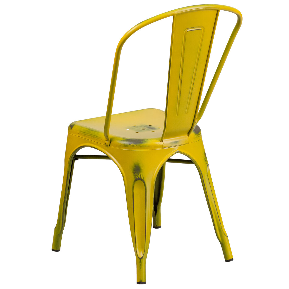 Our distressed yellow metal indoor outdoor stackable chair is on sale now