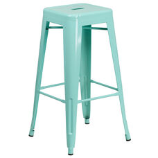 """Commercial Grade 30"""" High Backless Mint Green Indoor-Outdoor Barstool"""