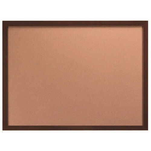 Architectural High Performance Natural Pebble Grain Cork Bulletin Board with Walnut Wood Grain Aluminum Trim - 36