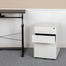 Modern 3-Drawer Mobile Locking Filing Cabinet with Anti-Tilt Mechanism and Hanging Drawer for Legal & Letter Files, White