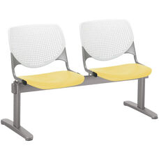2300 KOOL Series Beam Seating with 2 Poly White Perforated Back and Yellow Seats