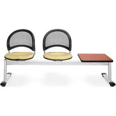 Moon 3-Beam Seating with 2 Golden Flax Fabric Seats and 1 Table - Cherry Finish