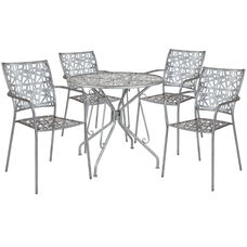 """Agostina Series 31.5"""" Round Antique Silver Indoor-Outdoor Steel Patio Table with 4 Stack Chairs"""
