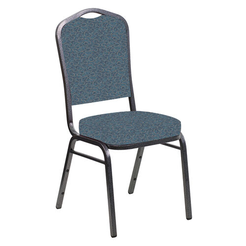 Our Embroidered Crown Back Banquet Chair in Ribbons Aqua Fabric - Silver Vein Frame is on sale now.