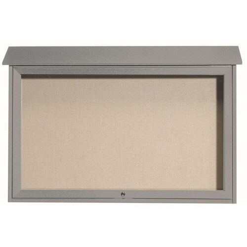 Our Light Gray Top Hinged Single Door Plastic Lumber Message Center with Vinyl Surface - 30