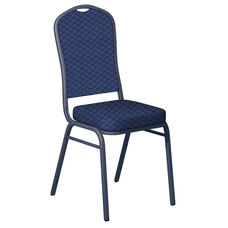Embroidered Praise Indigo Fabric Upholstered Crown Back Banquet Chair - Silver Vein Frame