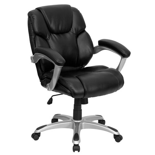 Mid-Back Black LeatherSoft Layered Upholstered Executive Swivel Ergonomic Office Chair with Silver Nylon Base and Arms