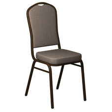 Embroidered Crown Back Banquet Chair in Shire Sesame Fabric - Gold Vein Frame