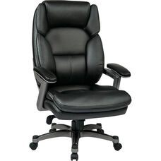 Work Smart Executive Eco Leather Chair with PU Padded Arms and Titanium Finish Coated Base - Black