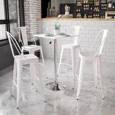 23.75'' Square Adjustable Height White Wood Table (Adjustable Range 33'' - 40.5'')