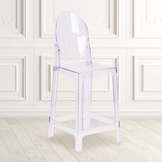 Ghost Counter Stool with Oval Back in Transparent Crystal