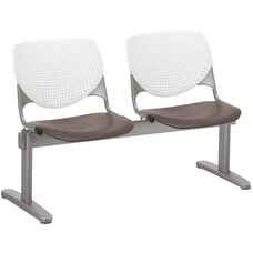 2300 KOOL Series Beam Seating with 2 Poly White Perforated Back and Brownstone Seats