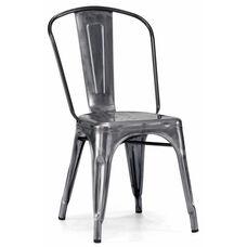 Dreux Steel Stackable Dark Gunmetal Side Chair - Set of 4