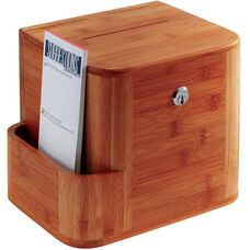 Bamboo Suggestion Box with Acrylic Display and Side Compartment - Cherry