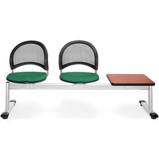 Moon 3-Beam Seating with 2 Shamrock Green Fabric Seats and 1 Table - Cherry Finish