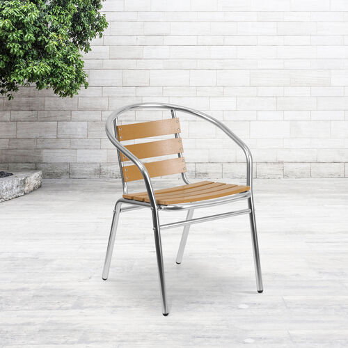 Our Commercial Aluminum Indoor-Outdoor Restaurant Stack Chair with Triple Slat Faux Teak Back is on sale now.