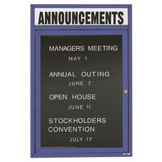 1 Door Indoor Enclosed Directory Board with Header and Blue Anodized Aluminum Frame - 36
