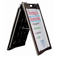 Universal Sidewalk A-Frame Sign Holder with Deluxe White Markerboard - Black - 27