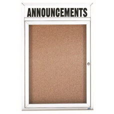 1 Door Indoor Illuminated Enclosed Bulletin Board with Header and White Powder Coated Aluminum Frame - 24