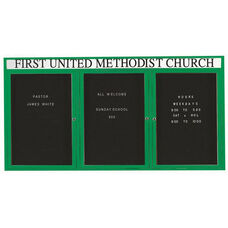3 Door Indoor Enclosed Directory Board with Header and Green Anodized Aluminum Frame - 36