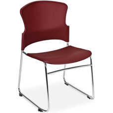 Multi-Use Stack Chair with Plastic Seat and Back - Wine