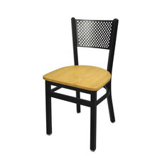 Polk Metal Perforated Back Chair - Natural Wood Seat