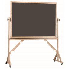 Reversible Free Standing Slate Porcelain Chalkboard with Red Oak Frame