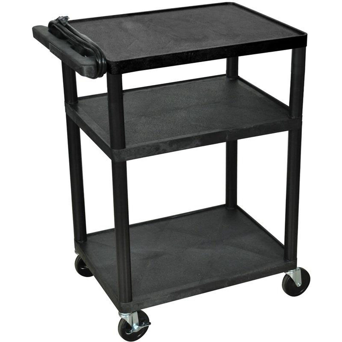 Luxor 3 shelf high open a v utility cart with 3 outlet for Furniture 4 less outlet