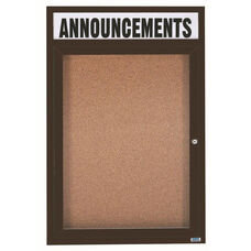 1 Door Indoor Illuminated Enclosed Bulletin Board with Header and Bronze Anodized Aluminum Frame - 48