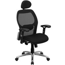High Back Super Mesh Executive Swivel Chair with Knee Tilt Control and Adjustable Arms