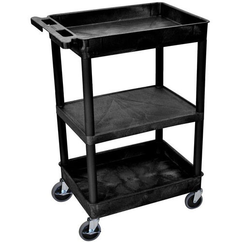 Our Heavy Duty Multi-Purpose Mobile Tub Utility Cart with 1 Flat Shelf and 2 Tub Shelves - Black - 24