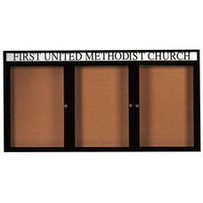 3 Door Indoor Illuminated Enclosed Bulletin Board with Header and Black Powder Coated Aluminum Frame - 48