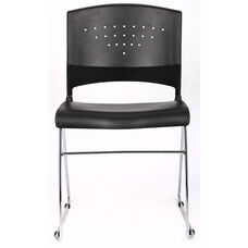 Economical Stack Chair with Chrome Frame and Polypropylene Seat - Black