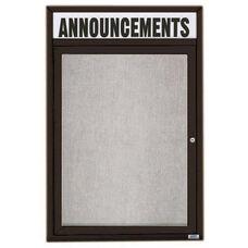 1 Door Outdoor Illuminated Enclosed Bulletin Board with Header and Black Powder Coated Aluminum Frame - 24