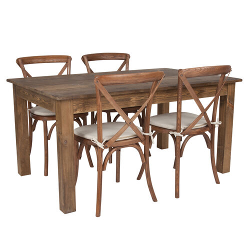 """Our 60"""" x 38"""" Antique Rustic Farm Table Set with 4 Cross Back Chairs and Cushions is on sale now."""