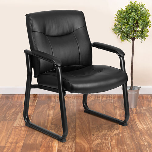 HERCULES Series Big & Tall 500 lb. Rated Black LeatherSoft Executive Side Reception Chair with Sled Base