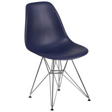 Elon Series Navy Plastic Chair with Chrome Base