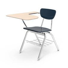 Quick Ship 3000 Series Combo Sandstone Hard Plastic Tablet Arm Desk with Navy Seat and Chrome Frame - 18.75